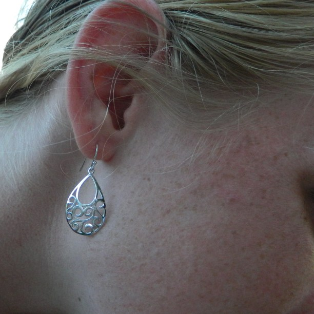 Sterling Silver Moving Clouds Earrings with Filigree Teardrop Design