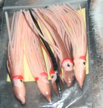 """Hookin&Reelin PEACH 5 PACK 4.75"""" Fishing Squid Skirts Octopus Trolling Hoochies Fish Lures"""