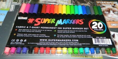 Super Markers 20 Color Premium Fabric & T-Shirt Marker Set with Our Unique Fine tip Bullet Point Tip