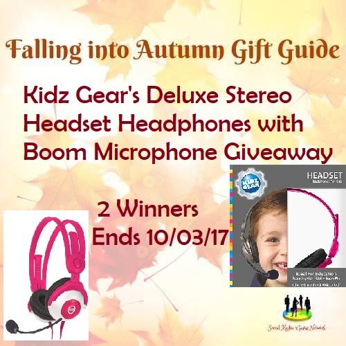 Kidz Gear's Deluxe Stereo Headset Headphones with Boom Microphone Giveaway