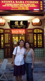Outside the Nonya restaurant in Penang with Grace, cousin Julie's friend!