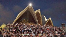 """Packed house for a concert """"on the steps""""."""
