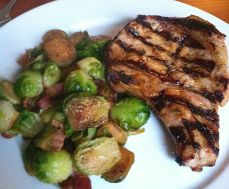 Bacon Brussels Sprouts with a Pork Chop