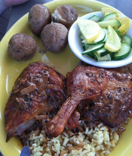 Roast Half Duckling au Poivre with Salt Potatoes