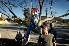 Colonia di Bat Ayin, West Bank, 2013. Alcuni ragazzi assistono ai preparativi dei festeggiamenti per il giorno dell'Indipendenza dello Stato di Israele. Bat Ayin e una colonia situata tra Betlemme ed Hebron e fondata nel 1989 da sionisti religiosi. La maggioranza dei suoi residenti sono ebrei osservanti che supportano gli sforzi sionisti per costruire uno stato ebraico nella terra di Israele; i sionisti religiosi, infatti, credono che Eretz Yisrael sia stata promessa agli antichi israeliti da Dio e che quindi il diritto degli ebrei a questa terra sia permanente e inalienabile.