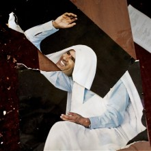 "LIBYA. Tripoli. 2011. Image of ex-colonel Qaddafi inside the room for ""green book"" studies."