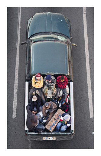 Alejandro Cartagena, The Carpoolers, 2011–12 Installation of 15 inkjet prints, 55.5 × 35.5 cm (each) Courtesy Patricia Conde Galería, Mexico City © Alejandro Cartagena