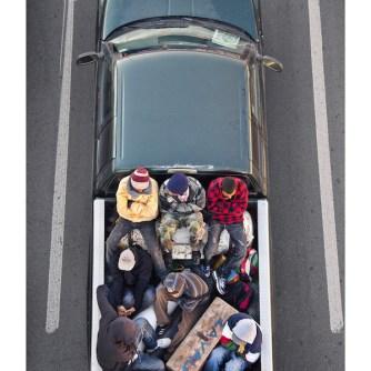 Alejandro Cartagena, The Carpoolers, 2011–12 Installation of 15 inkjet prints, 55.5 × 35.5 cm (each) Courtesy Patricia Conde Galería, Mexico City © Alejandro Cartagena