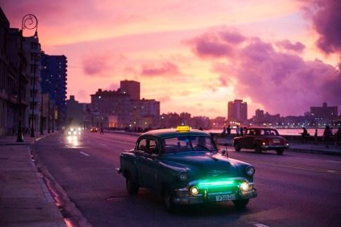 Old Night Tourism Travel Sunrise Havana Car Cuba