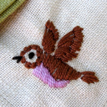 Embroidered Napkin Detail Bird