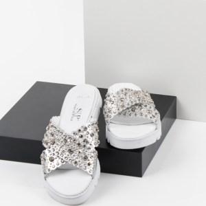 Дамски чехли в сив цвят-980253