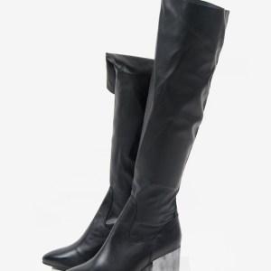 Кожени дамски ботуши в черен цвят-168067