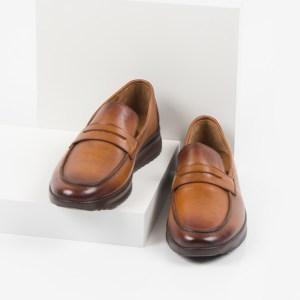 Кожени мъжки обувки в камел цвят-281001
