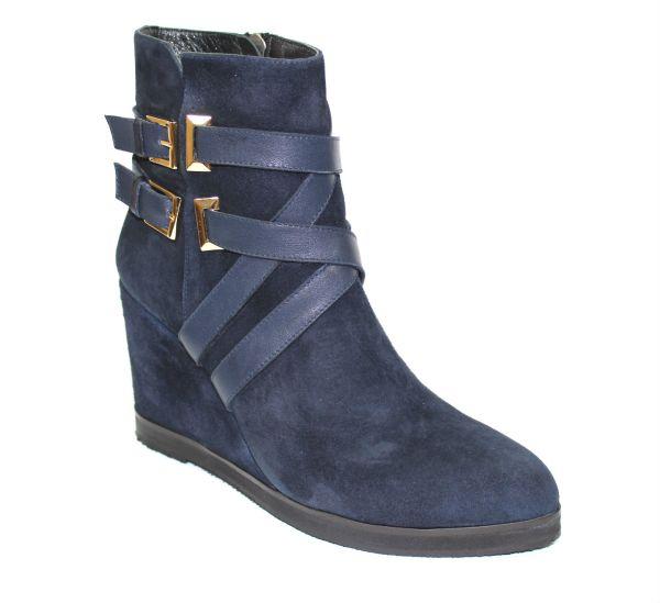 Велурени сини боти с платформа-240423
