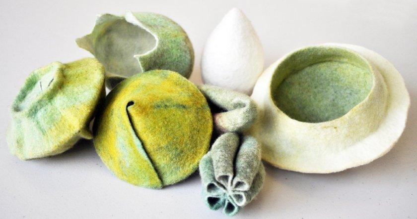 felt pods by fibre artist sara quail perth