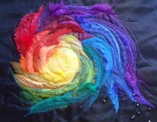 sara quail rainbow textile