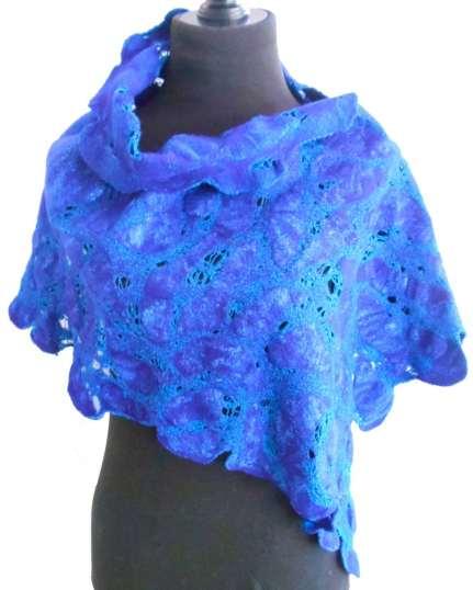 Asymmetrical wrap - merino and cotton, double dyed