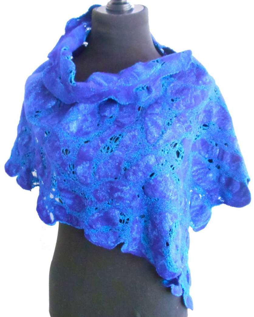 Asymmetrical wrap - merino and cotton, double dyed