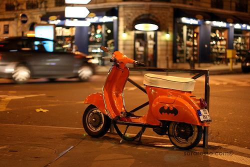 Batmobile Orange Vespa in Paris, France