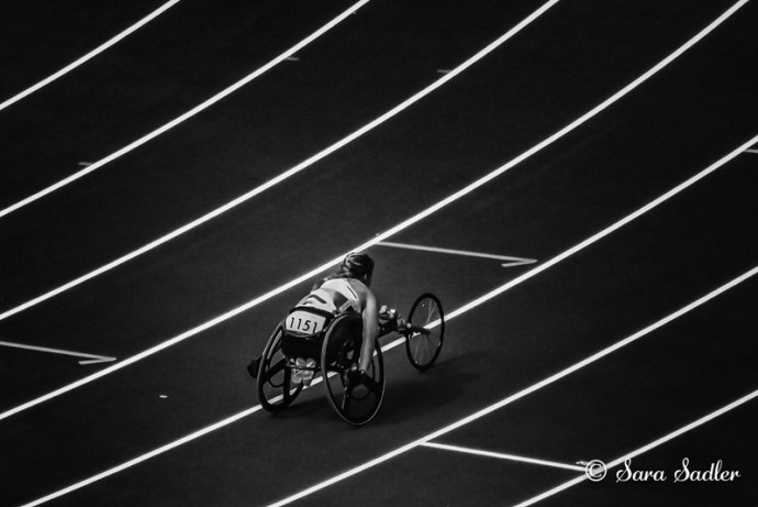Paralympian Hannah Cockcroft racing at London 2012 games.