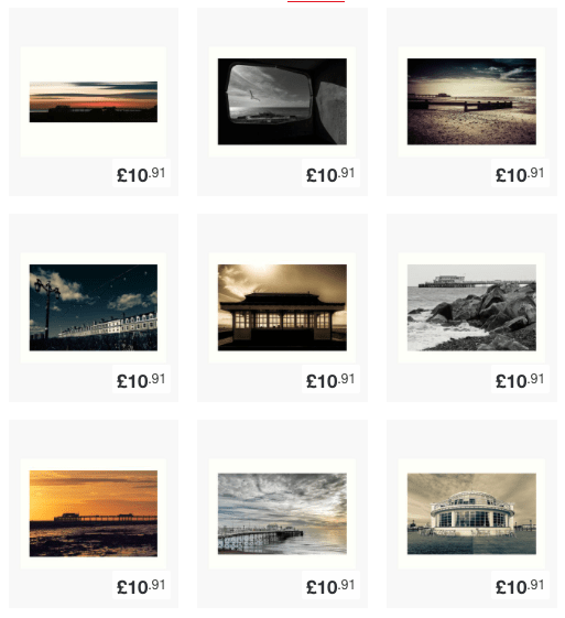 Thumbnails of Worthing prints available from my redbubble shop.