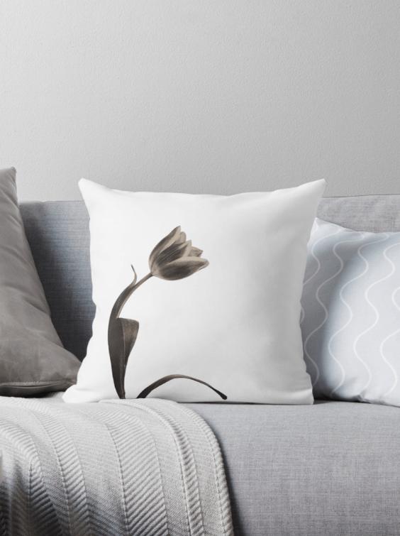 Sepia tulip flower cushions