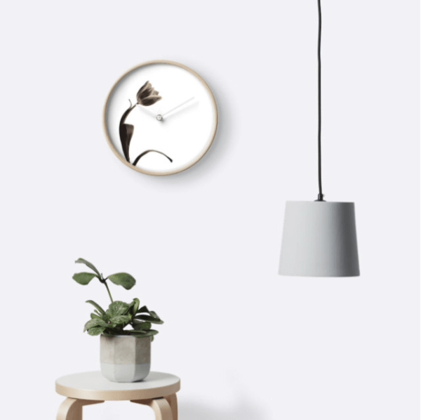 Sepia Tulip Wall Clock