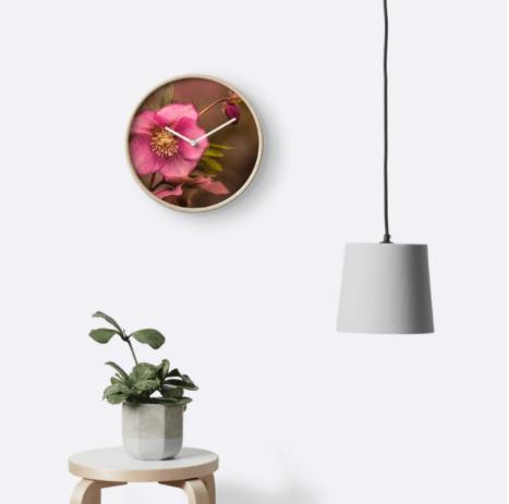Christmas Rose Wall clock
