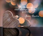 Jane Austin quote over heart image