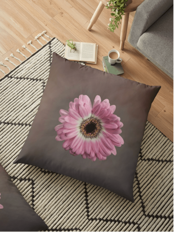 pink gerbera floor cushion