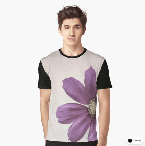 cosmos flower graphic t-shirts