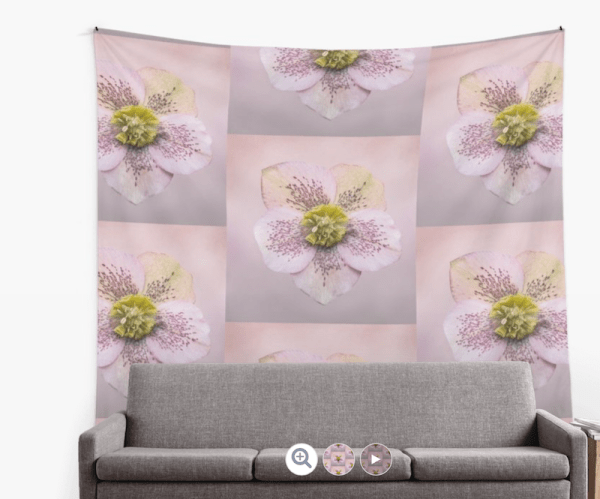 Hellebores Flower wall tapestry