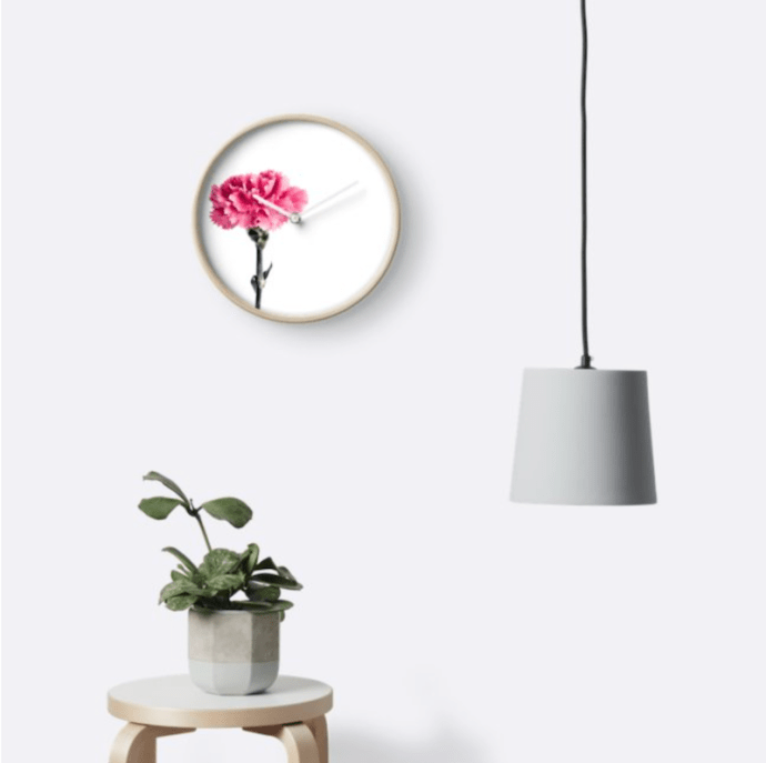 Carnation Flower Wall Clock