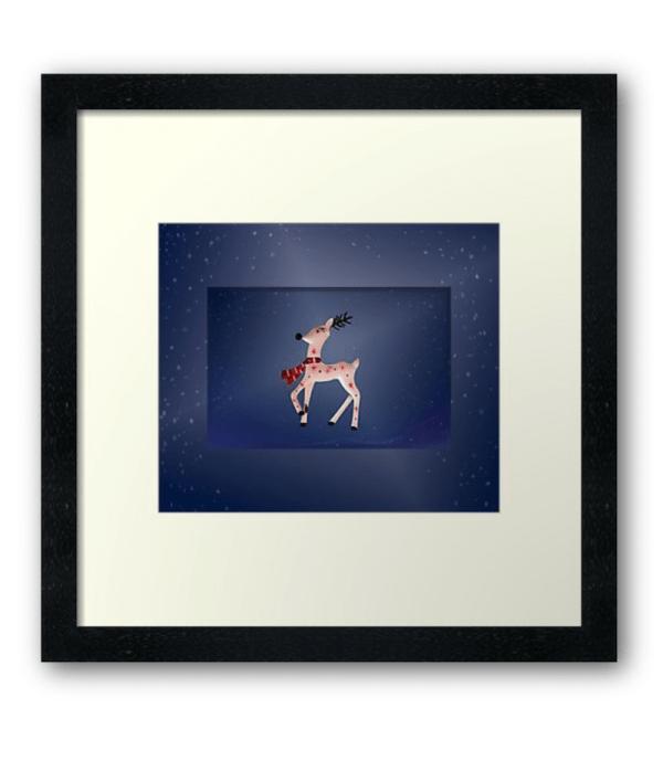 Framed Christmas Reindeer print