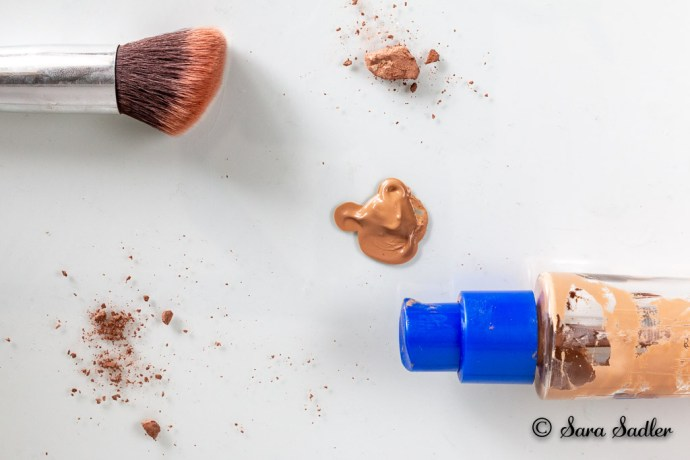 Inspirational flat lay photography using messy makeup