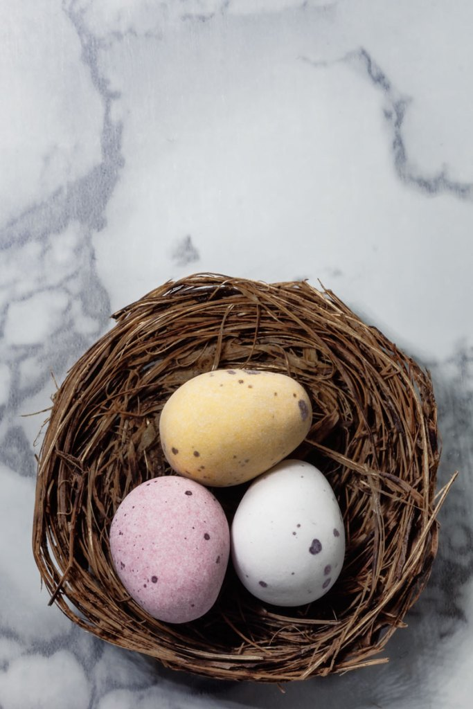 Chocolate egg flat lay - easter photography