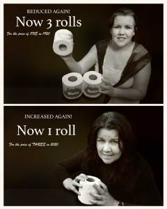 1920 vs 2020 toilet rolls. 20:20 a comparison 100 years apart by Sara Sadler