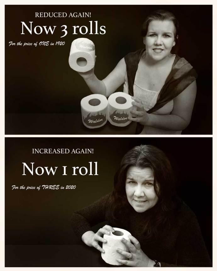 1920 vs 2020 toilet roll