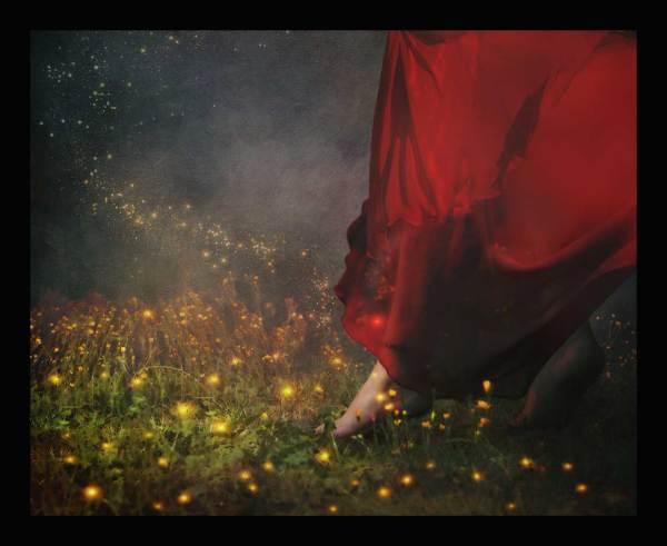 digital art showing a fantasy world of walking through the meadow.