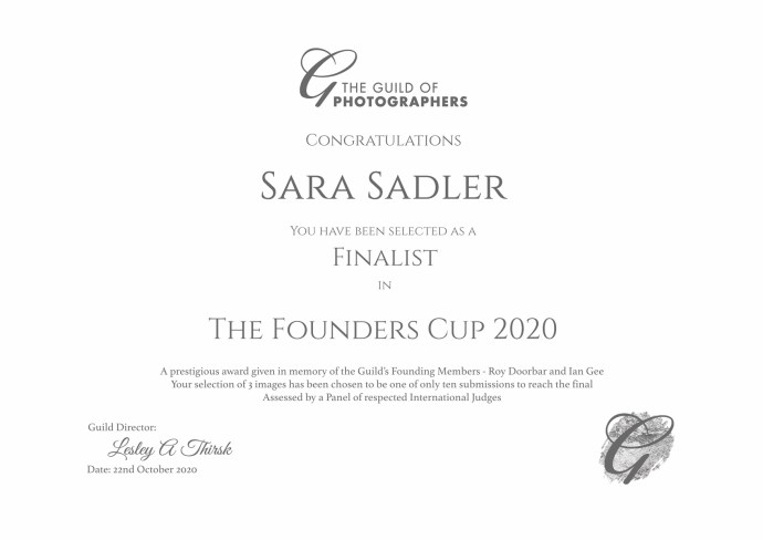 Certificate for being the top 10 shortlist for the Founders Cup