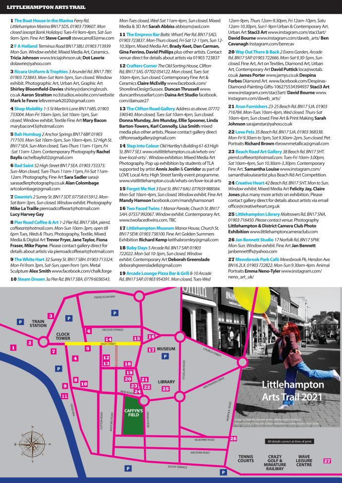 brouchure of venues and artists taking part in the Littlehampton Arts Trail