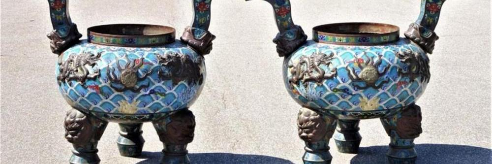 PALACE SIZED CHINESE CLOISONNE & JADE CENSORS