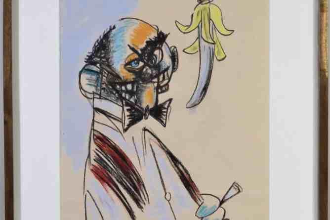 George Condo (B. 1957 - ) Pastel on Paper 2012