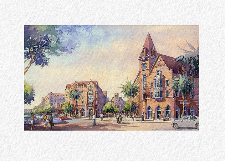 """Architectural Watercolor Illustration. 14""""x 8.25"""" Project: Village at University of South California (USC), Los Angeles  by Torti Gallas and Partners, Inc."""