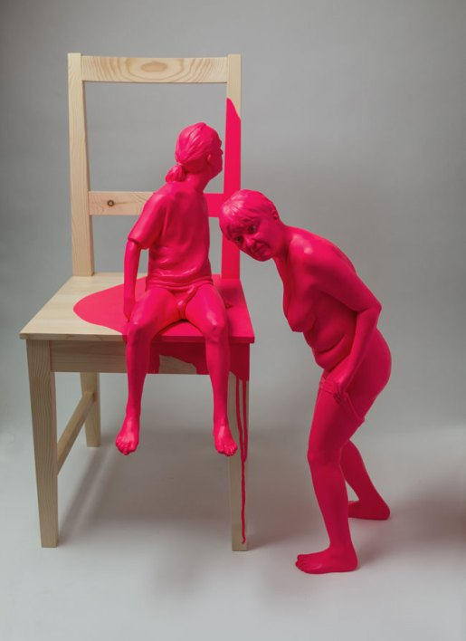 Christina West // Overexposed female: 27.5 inches tall x 9 inches wide x 17 inches deep male: 21 inches tall x 9 inches wide x 17 inches deep life-size chair // 2012 // Painted aqua resin