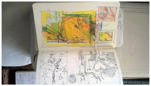 """Rubadoux's notebook with sketch resulting in """"Aurora"""" (Notebook is oriented correctly)"""