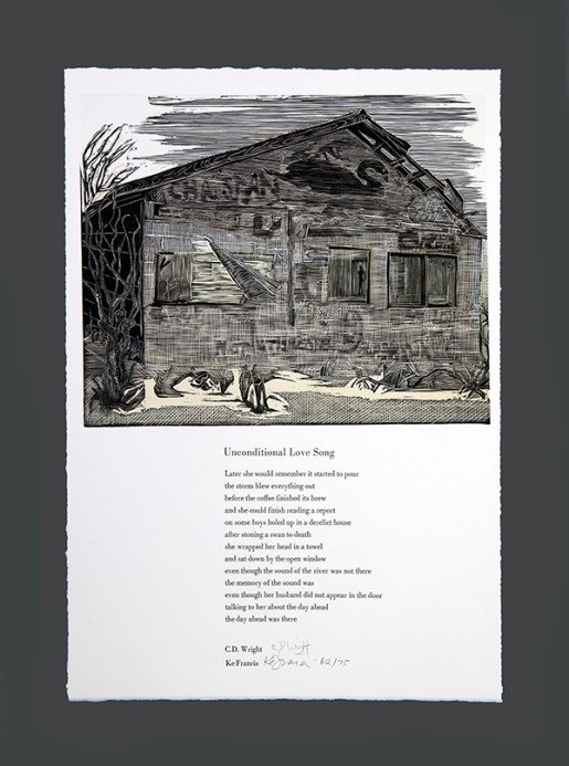 """Broadside for Unconditional Love Song by CD Wright, artist Ke Francis, print made from 4 relief printed plates, 18.5"""" x 13"""", from Ringling Suite, edition size 75."""