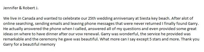 Sarasota beach wedding package & ceremony review & testimonial