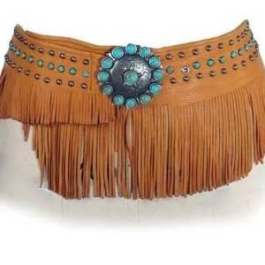 Patricia Wolf Bandalero Wrap Belt on Saddle Deerskin
