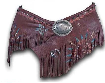 Patricia Wolf Hand Painted Wrap Belt on Acorn Deerskin